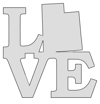 Utah map love state stencil clip art scroll saw pattern printable downloadable free template, laser cutting, vector graphic.