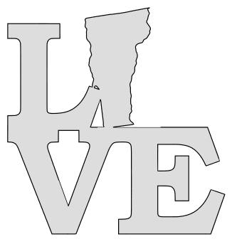 Vermont map love state stencil clip art scroll saw pattern printable downloadable free template, laser cutting, vector graphic.