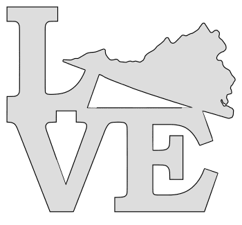 Virginia map love state stencil clip art scroll saw pattern printable downloadable free template, laser cutting, vector graphic.