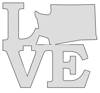 Washington map love state stencil clip art scroll saw pattern printable downloadable free template, laser cutting, vector graphic.