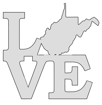 West Virginia map love state stencil clip art scroll saw pattern printable downloadable free template, laser cutting, vector graphic.