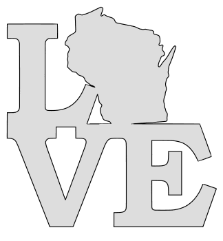Wisconsin map love state stencil clip art scroll saw pattern printable downloadable free template, laser cutting, vector graphic.