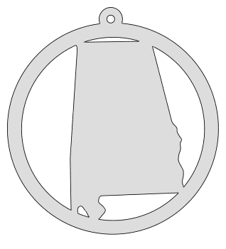 Alabama map inside circle state stencil clip art scroll saw pattern printable downloadable free template, laser cutting, vector graphic, silhouette or cricut design.