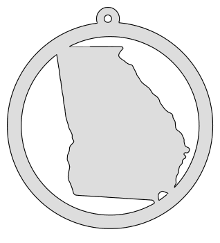Georgia map inside circle state stencil clip art scroll saw pattern printable downloadable free template, laser cutting, vector graphic, silhouette or cricut design.