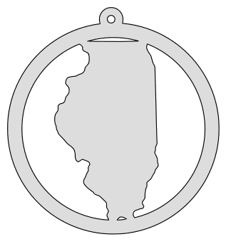 Illinois map inside circle state stencil clip art scroll saw pattern printable downloadable free template, laser cutting, vector graphic, silhouette or cricut design.