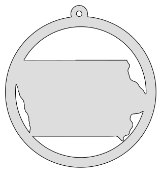 Iowa map inside circle state stencil clip art scroll saw pattern printable downloadable free template, laser cutting, vector graphic, silhouette or cricut design.