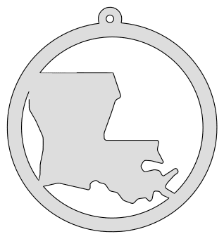 Louisiana map inside circle state stencil clip art scroll saw pattern printable downloadable free template, laser cutting, vector graphic, silhouette or cricut design.