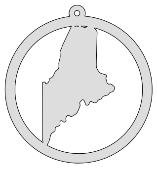 Maine map inside circle state stencil clip art scroll saw pattern printable downloadable free template, laser cutting, vector graphic, silhouette or cricut design.