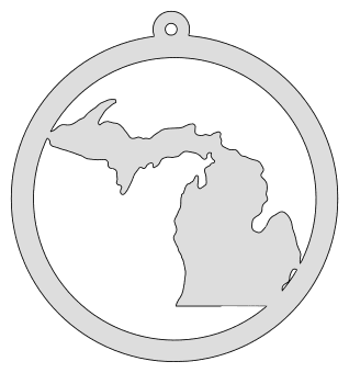 Michigan map inside circle state stencil clip art scroll saw pattern printable downloadable free template, laser cutting, vector graphic, silhouette or cricut design.