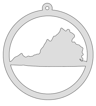 Virginia map inside circle state stencil clip art scroll saw pattern printable downloadable free template, laser cutting, vector graphic, silhouette or cricut design.