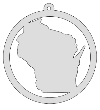 Wisconsin map inside circle state stencil clip art scroll saw pattern printable downloadable free template, laser cutting, vector graphic, silhouette or cricut design.