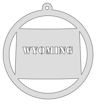 Wyoming map inside circle state stencil clip art scroll saw pattern printable downloadable free template, laser cutting, vector graphic, silhouette or cricut design.