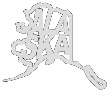 Alaska map outline shape state stencil clip art scroll saw pattern printable downloadable free template, laser cutting, vector graphic.