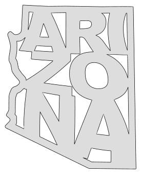 Arizona map outline shape state stencil clip art scroll saw pattern printable downloadable free template, laser cutting, vector graphic.