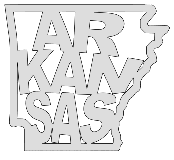 Arkansas map outline shape state stencil clip art scroll saw pattern printable downloadable free template, laser cutting, vector graphic.