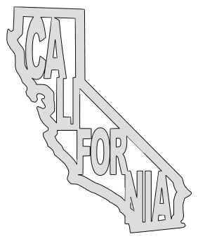 California map outline shape state stencil clip art scroll saw pattern printable downloadable free template, laser cutting, vector graphic.