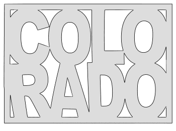 Colorado map outline shape state stencil clip art scroll saw pattern printable downloadable free template, laser cutting, vector graphic.