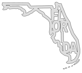 Florida map outline shape state stencil clip art scroll saw pattern printable downloadable free template, laser cutting, vector graphic.