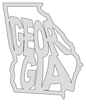 Georgia map outline shape state stencil clip art scroll saw pattern printable downloadable free template, laser cutting, vector graphic.