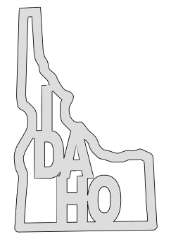 Idaho map outline shape state stencil clip art scroll saw pattern printable downloadable free template, laser cutting, vector graphic.