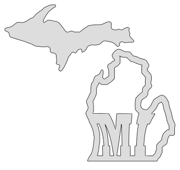 Michigan map outline shape state stencil clip art scroll saw pattern printable downloadable free template, laser cutting, vector graphic.