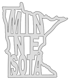 Minnesota map outline shape state stencil clip art scroll saw pattern printable downloadable free template, laser cutting, vector graphic.