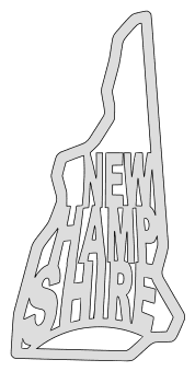 New Hampshire map outline shape state stencil clip art scroll saw pattern printable downloadable free template, laser cutting, vector graphic.