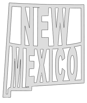 New Mexico map outline shape state stencil clip art scroll saw pattern printable downloadable free template, laser cutting, vector graphic.