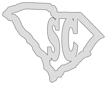 South Carolina map outline shape state stencil clip art scroll saw pattern printable downloadable free template, laser cutting, vector graphic.