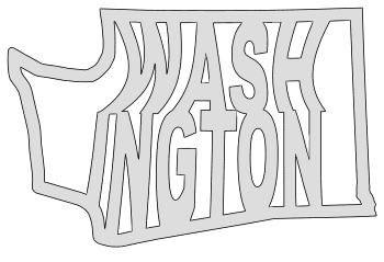 Washington map outline shape state stencil clip art scroll saw pattern printable downloadable free template, laser cutting, vector graphic.