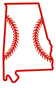 Free Alabama outline with baseball stitches or softball stitches, cricut or Silhouette design, vector image, pattern, map shape cutting file.