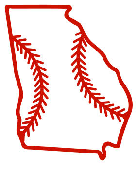 Free Georgia outline with baseball stitches or softball stitches, cricut or Silhouette design, vector image, pattern, map shape cutting file.
