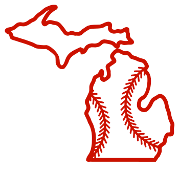 Free Michigan outline with baseball stitches or softball stitches, cricut or Silhouette design, vector image, pattern, map shape cutting file.