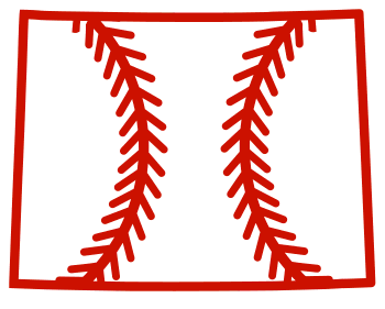 Free Wyoming outline with baseball stitches or softball stitches, cricut or Silhouette design, vector image, pattern, map shape cutting file.