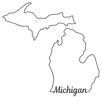 Free Michigan outline with state name on border, cricut or Silhouette design, vector image, pattern, map  shape cutting file.