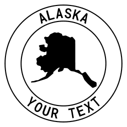 Alaska map outline shape state with text in a circle stencil clip art pattern print download cricut or silhouette design free template, cutting file.
