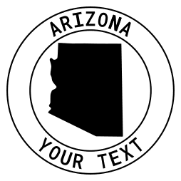 Arizona map outline shape state with text in a circle stencil clip art pattern print download cricut or silhouette design free template, cutting file.