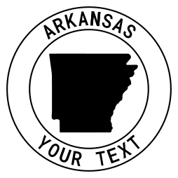 Arkansas map outline shape state with text in a circle stencil clip art pattern print download cricut or silhouette design free template, cutting file.