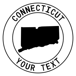 Connecticut map outline shape state with text in a circle stencil clip art pattern print download cricut or silhouette design free template, cutting file.