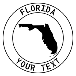 Florida map outline shape state with text in a circle stencil clip art pattern print download cricut or silhouette design free template, cutting file.