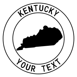 Kentucky map outline shape state with text in a circle stencil clip art pattern print download cricut or silhouette design free template, cutting file.