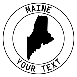 Maine map outline shape state with text in a circle stencil clip art pattern print download cricut or silhouette design free template, cutting file.