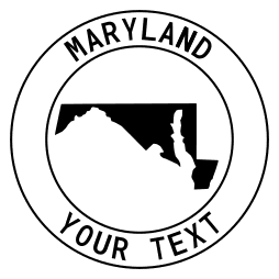 Maryland map outline shape state with text in a circle stencil clip art pattern print download cricut or silhouette design free template, cutting file.