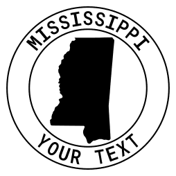 Mississippi map outline shape state with text in a circle stencil clip art pattern print download cricut or silhouette design free template, cutting file.
