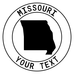 Missouri map outline shape state with text in a circle stencil clip art pattern print download cricut or silhouette design free template, cutting file.