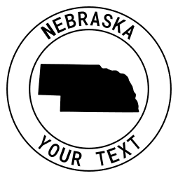 Nebraska map outline shape state with text in a circle stencil clip art pattern print download cricut or silhouette design free template, cutting file.