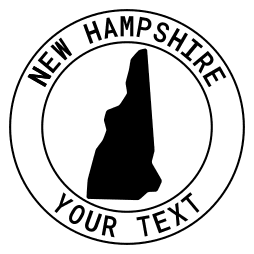 New Hampshire map outline shape state with text in a circle stencil clip art pattern print download cricut or silhouette design free template, cutting file.