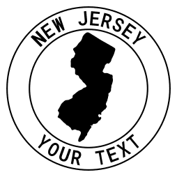 New Jersey map outline shape state with text in a circle stencil clip art pattern print download cricut or silhouette design free template, cutting file.