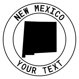 New Mexico map outline shape state with text in a circle stencil clip art pattern print download cricut or silhouette design free template, cutting file.
