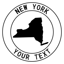 New York map outline shape state with text in a circle stencil clip art pattern print download cricut or silhouette design free template, cutting file.